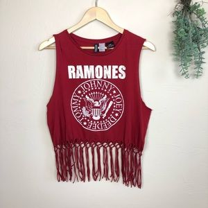 Ramones Knotted Fringe Muscle Tank
